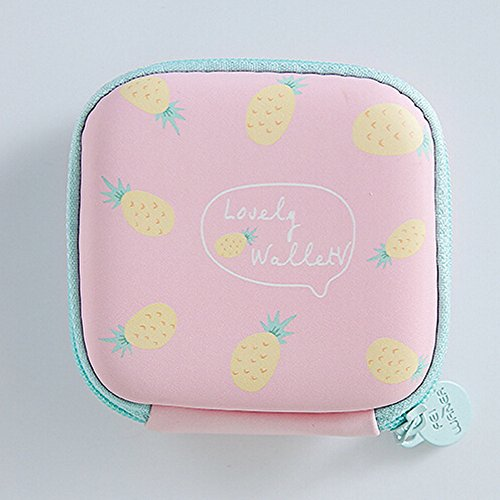 F Blue JESPER Pink for Portable Bag Storage Storage Headphone Earphone Round Case Mini Cards BSqFwO