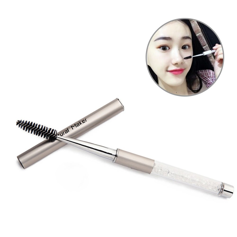 HaloVa Eyelash Brush, Spiral-headed Makeup Eyebrow Brush, Quality Durable Portable Cosmetic Brush with a Lid Covered, Gold
