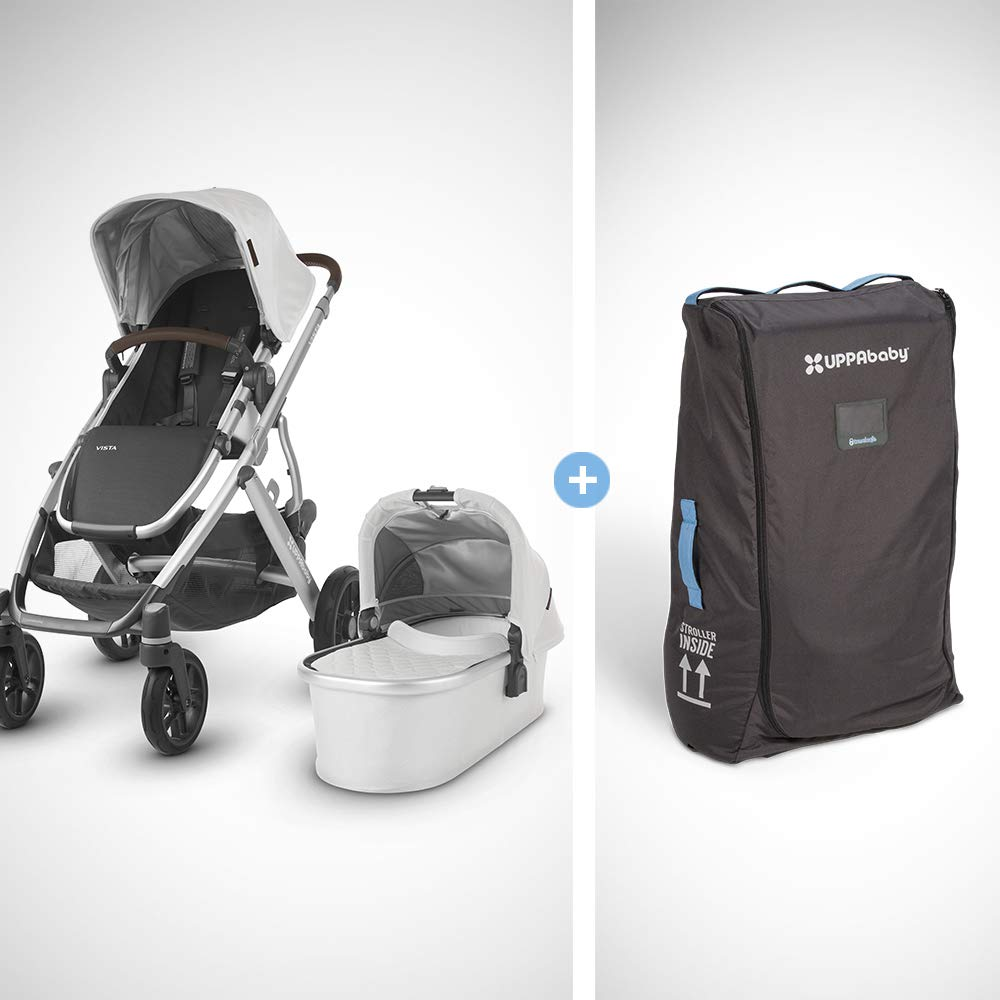 UPPAbaby Vista + Travel Bag - Bryce (White Marl/Silver/Chestnut Leather) by UPPAbaby