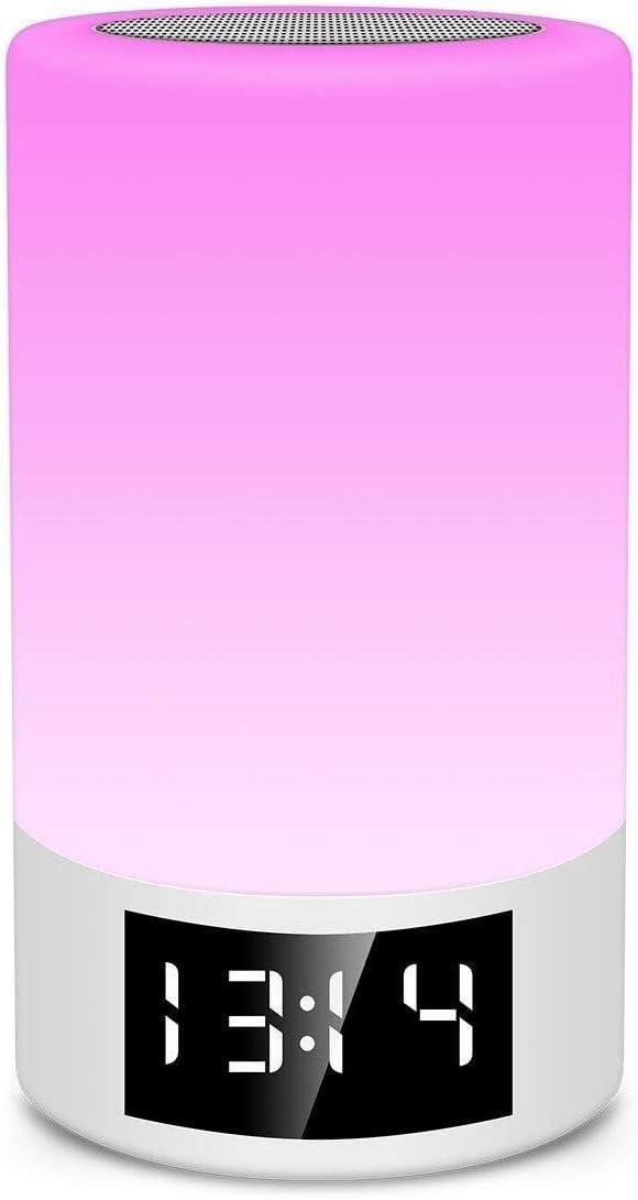 FJC Tarjeta De Altavoz Bluetooth Inalámbrico Radio FM Reloj Despertador Atenuación Táctil Lámpara De Mesa Creativa Luz Colorida Luz De Noche Luz De Noche Portátil Bluetooth Altavoz