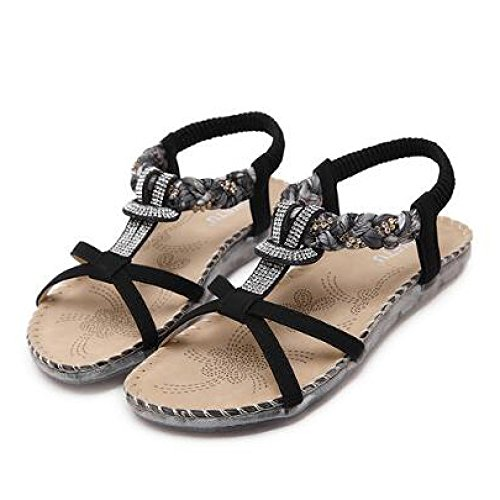Women Sandals Summer Ethnic Style Bohemian Open Toe Diamond Flat Heel Flat Shoes Sandals Black zoR5g