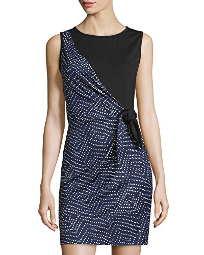 (Diane von Furstenberg Dhalia Silk Printed Wrap Dress, Batik Midnight/Black,)