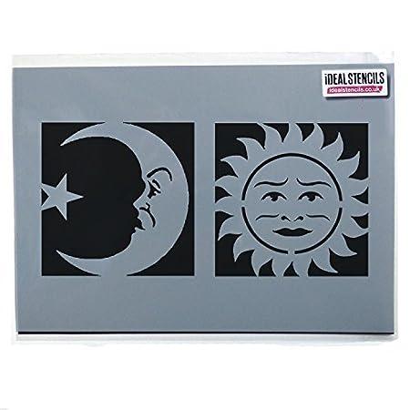 Celestial Sun Moon Face Stencilshalloween Ouija Board Symbols