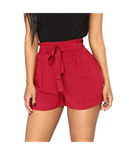 Memela Palazzo Pants,Women Retro Casual Fit Elastic Waist Pocket Shorts Pants High Waist String Pant (Wine, XL)