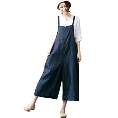d4cb1f8190e3 IXIMO Women s 100% Linen Casual Cropped Wide Leg Rompers Overalls Drop  Crotch Pants Jumpsuit (