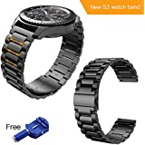 Hoco. gear s3 frontier band,samsung gear s3 watch band 22mm stainless steel band for samsung smart sport watch/Wrist Bracelet Metal Replacement for Samsung Gear S3 Frontier/S3 Classic(Black)