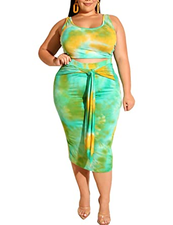 40eb18ea3fd697 Women's Sexy Plus Size 2 Piece Dress Outfits-Tie Dye Print Tank Crop Top and