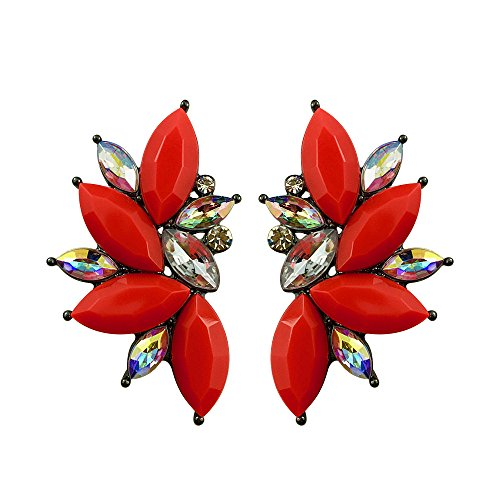 (Punk Rock Spiky Oversized Rhinestone Studded Candy Cluster Women Stud Earrings in Purple Green Blue Pink Yellow Red (Coral)