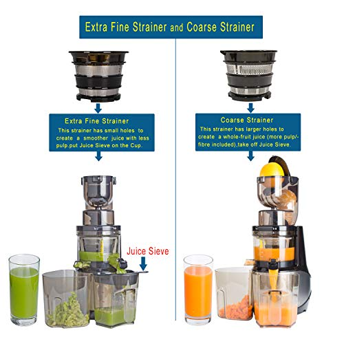 Masticating Juicer,Whole Slow Juicer Extractor by Vitalisci,Cold Press Juicer Machine,Anti-Oxidation for Fruit and Vegetable,Easy to Clean and BPA Free,(300W AC Motor/3.15'' Wide Chute/40 RPMs)-Silver by Vitalisci (Image #3)