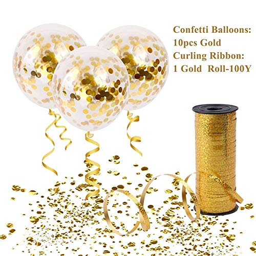 10pcs Gold Confetti Ballons with 100Y Curling Ribbon Wedding Balloons Happy Birthday Balloon Wedding Event Party Decor (Gold Set) -