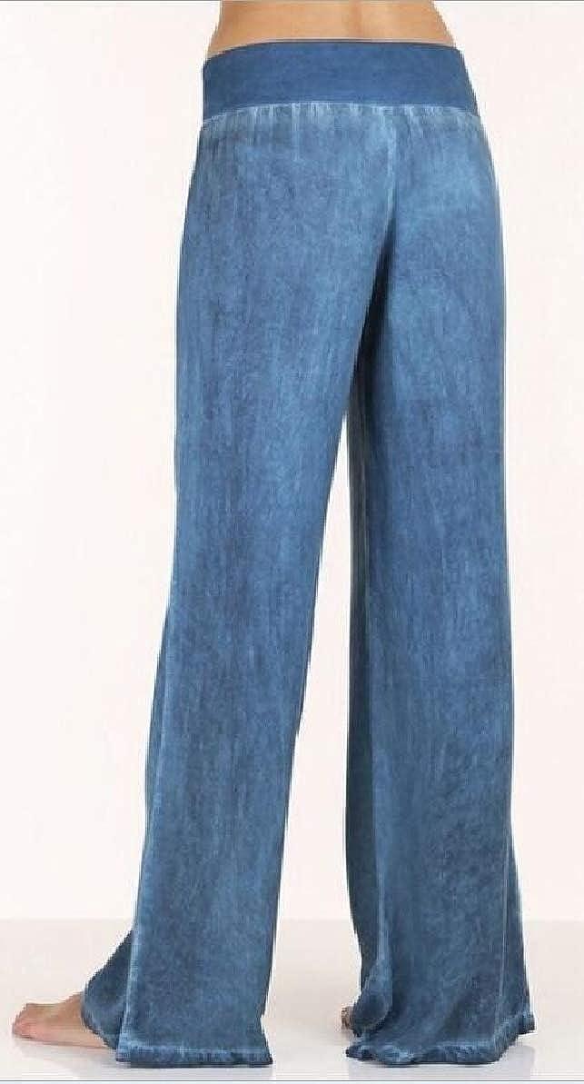 FLCH+YIGE Women Washed Harem High Waist Elasticity Denim Wide Leg Palazzo Pants Jeans Trousers