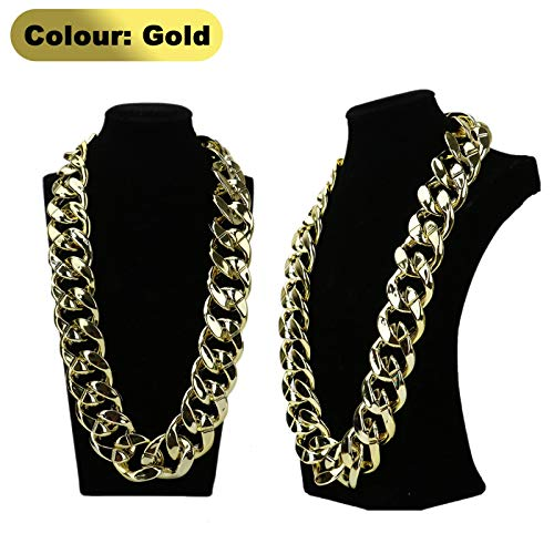 AQUEENLY Men's Chunky Necklace, Rapper Fake Gold Chain - 90s Hip Hop Fake Gold Necklace Costume Accessory (27.5-Inch)