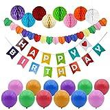 Vidillo Happy Birthday Party Decorations,Happy Birthdays Banner Garland Flags, 8pcs Colorful Paper Honeycomb Balls,12 pcs Balloons, 1pc Heart Shape Rainbow Paper Garland, Party Supp