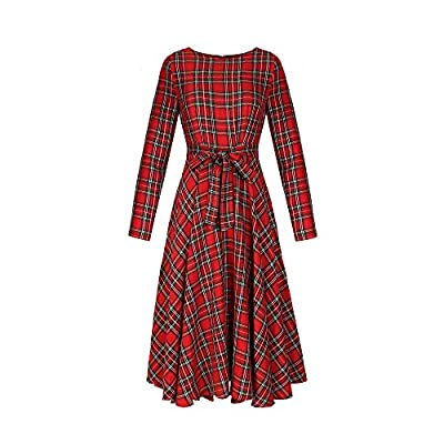Boqiao Women's Grid Plaid Printed Loose Long Sleeve Belted Checked Maxi Shirt Dress