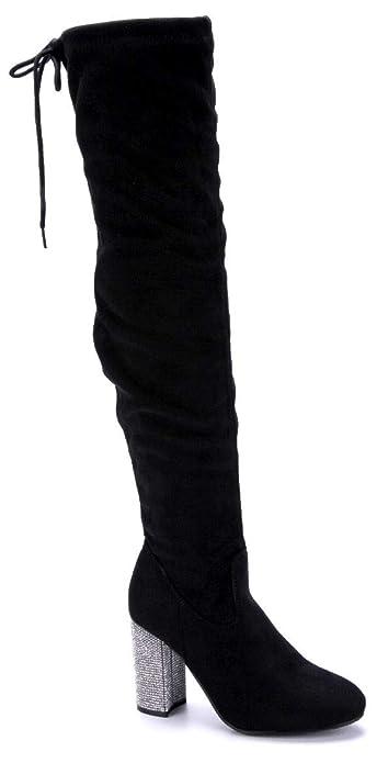 Schuhtempel24 Damen Schuhe Overknee Stiefel Stiefeletten