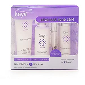 Kaya Clinic Advanced Acne Care Kit (set of 4 for oily & combination skin), Acne Face Wash/Acne cleanser + Acne Toner…