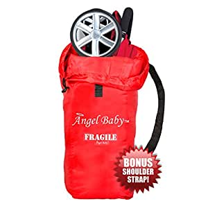UMBRELLA STROLLER TRAVEL BAG Cover - DURABLE Polyester with SHOULDER STRAP, Water Resistant, Lightweight - Great for Airport Gate Check and Storage - Fits most umbrella strollers by Angel Baby