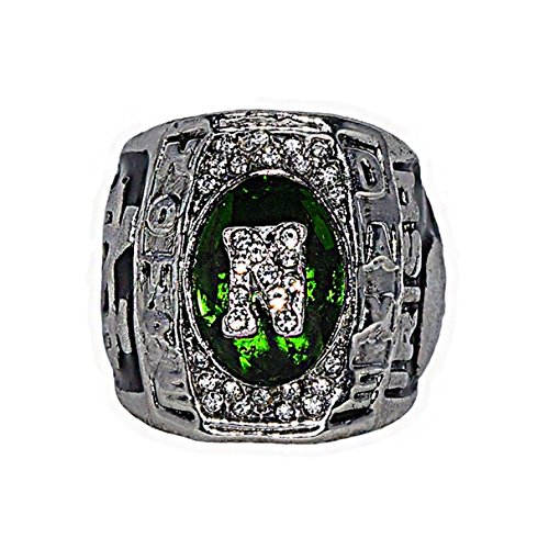 UNIVERSITY OF NOTRE DAME (Fighting Irish) 1988 NCAA BCS NATIONAL CHAMPIONS Vintage Rare & Collectible Replica NCAA College Football Silver Championship Ring with Cherrywood Display Box