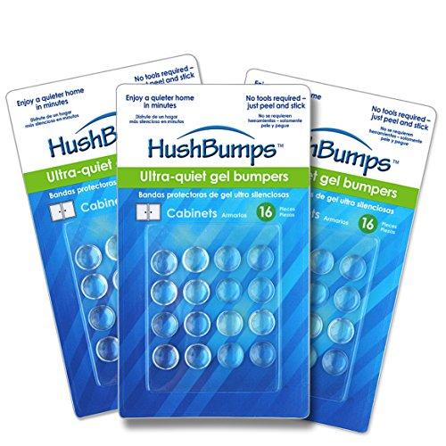 HushBumps for Cabinets 3-PACK. Ultra-Quiet Gel Bumpers 48 pcs. Provides Soft & Quiet Close