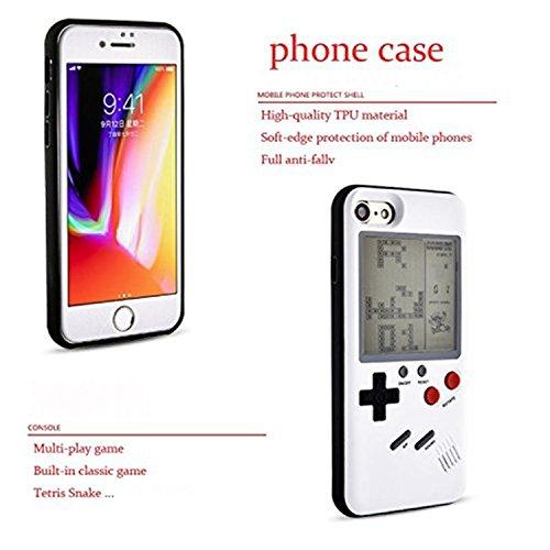 para el iPhone 8 más TPU caso de la cubierta protectora de la caja del silicón del teléfono que puede jugar juegos clásicos, puede jugar el pequeño juego el juego de la cáscara del teléfono para la gu Negro