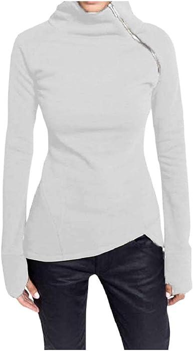 DEELIN Camiseta Mujer Manga Larga Tops Blusa Pullover Casual SóLida Cuello Tortuga Cremallera Sudadera: Amazon.es: Ropa y accesorios