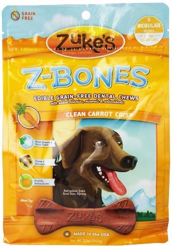Zuke's Z-Bones Edible Grain-Free Dental Chews, Clean Carrot Crisp, Regular 1.5-Ounce, 8 Count by Zuke's