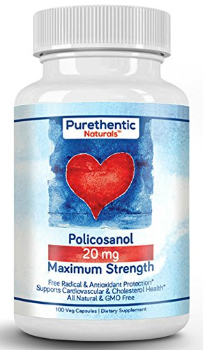Policosanol 20mg Premium, 100 Vcaps, Purethentic Naturals (1 Bottle)
