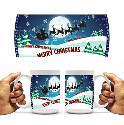 VictoryStore.com Ceramic Mugs - Santa and Sleigh Over Snowy Hills, Christmas Coffee Mug, ()