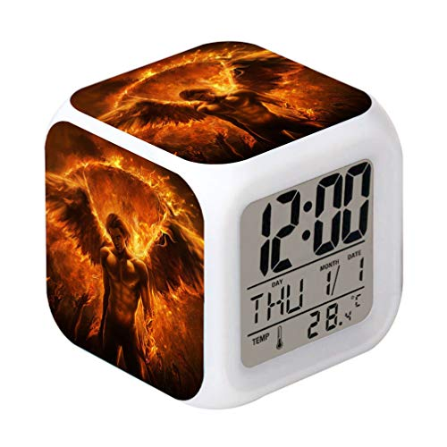 Laintone Led Alarm Clock Lucifer Angel Demon Devil Crystal Design Creative Desk Table Clock Glowing Electronic Colorful Digital ()
