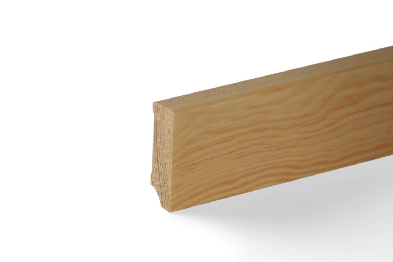 KGM Sockelleiste Kiefer massiv   Fuß leiste 50mm Modern Profil ✓Massive Holzleiste ✓Echtholz Kiefer natur lackiert ✓Parkettleiste   Massive Holzleiste Kiefer 15x50x2400mm ideal fü r Parkett