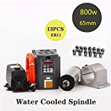 MYSWEETY 800W Water Cooled Spindle Motor CNC Spindle Motor + 1.5KW Inverter + 65MM Clamp Mount +13PCS ER11 Collet + 5M Water Pipe + Water Pump for CNC Router