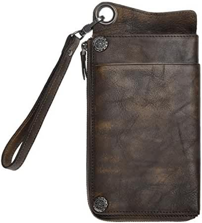 ZLYC Vintage Handmade Dip-dye Leather Wallet Card Holder Long Clutch with Detachable Wristlet