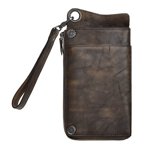 ZLYC Vintage Handmade Dip-dye Leather Wallet Card Holder Long Clutch with Detachable Wristlet (Coffee)