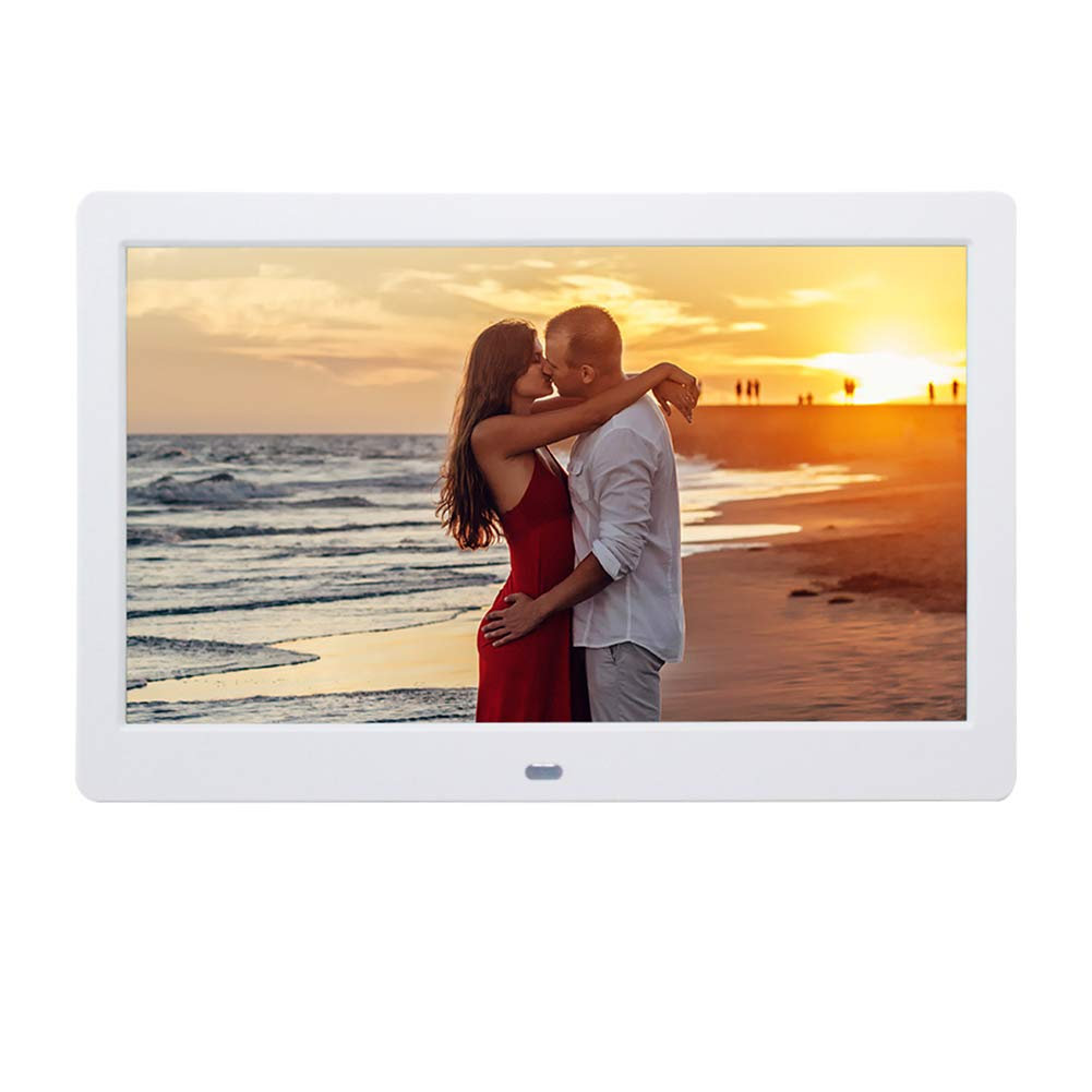 Digital Picture Frames SZSUPER 10 inch Digital Photo Frame High Resolution LCD Electronic Picture Frames with Video Player Calendar Auto On/Off Timer with Remote Control Digital Frame (White)