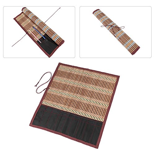 (Walfront 15.7''×14.2'' Roll Up Bamboo Brush Pen Bag Cases Holder for Artist Draw Pen Calligraphy Brush Pen Organizer)