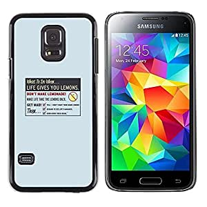 EJOY---Cubierta de la caja de protección la piel dura para el / Samsung Galaxy S5 Mini, SM-G800 / --La vida le da Limón
