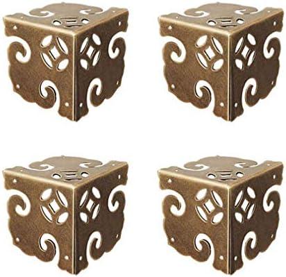 Tiazza - Protectores de esquina de latón puro vintage, 4 unidades, para escritorio, caja de regalo de madera, armario esquinero: Amazon.es: Bricolaje y herramientas