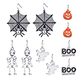 Zhenhui Halloween Theme 5 Pairs Drop Earrings Spider Web Pumpkin Skeleton Skull Boo Dangle Earring Set