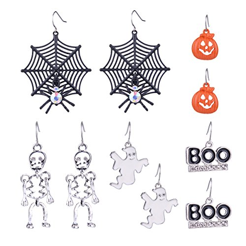 Zhenhui Halloween Theme 5 Pairs Drop Earrings Spider Web Pumpkin Skeleton Skull Boo Dangle Earring