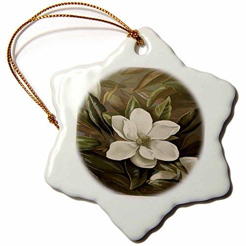 3dRose orn_18938_1 Magnolia Grandiflora-Snowflake Ornament, Porcelain, 3-Inch