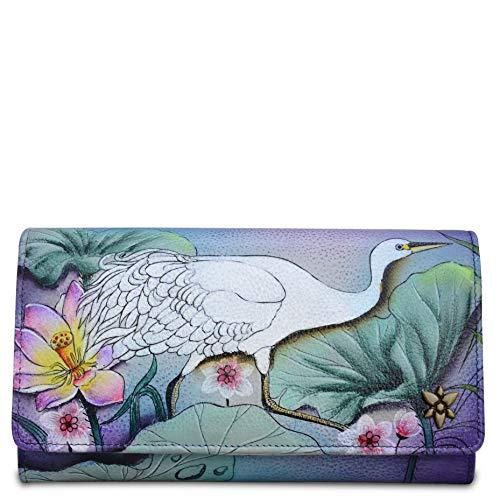 Painted Original Artwork - Anuschka Women's Genuine Leather Accordion Flap Wallet | Hand Painted Original Artwork | Peaceful Garden