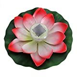 TOOGOO(R) Solar LED Light Garden Floating Lotus Light 7-colored Changing Waterproof Night Flower Lamp for Pond (Lotus red)