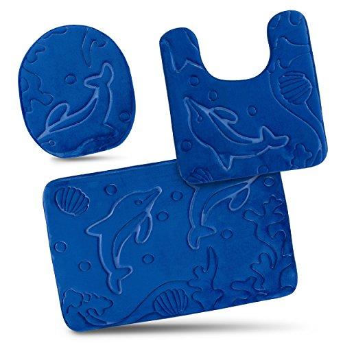 Bathroom Rug Mats Set 3 Piece - Memory Foam Extra Soft Shower Bath Rugs - Contour Mat and Lid Cover - Perfect Combination of Luxury and Comfort - Royal Blue