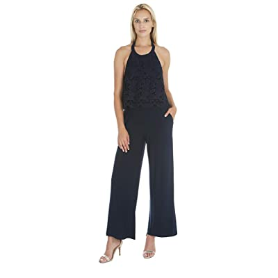 Marina Women's Halter Top Jumpsuit with Lace Pop Over: Clothing