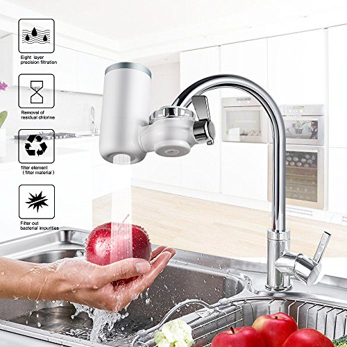 Faucet Water Filter, 8 Stage Water Filtration Faucet Mount, 7 Different Kinds of Interfaces, Suitable for Most Faucets, Easy to Install, 0.46gal/min/100kpa Large Filtration Discharge System Milky by Kaleidoscope