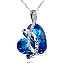 AOBOCO I Love You Sterling Silver Heart Pendant Necklace with Swarovski Crystals Jewelry for Women