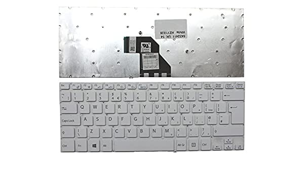 Sony Vaio SVF14325PLB Sony Vaio SVF14325CXW Sony Vaio SVF143290X Sony Vaio SVF14325CXB Keyboards4Laptops UK Layout White Windows 8 Laptop Keyboard Compatible with Sony Vaio SVF14323CLW