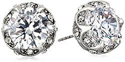 Crystal Cubic Zirconia Ruffled Round Stud Earrings