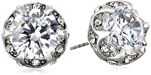 Betsey Johnson Cz Ears Crystal Cubic Zirconia Ruffled Round Stud Earrings