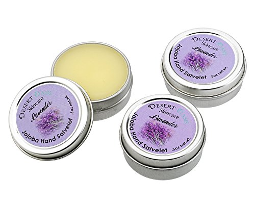 Artisan Jojoba Oil Lavender Hand Salve travel size, mildly scented with fresh Lavendar Blossoms, All Natural and Hand Made, .5 oz (14 gm), 3 pack